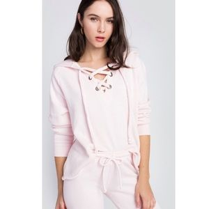 NWT Wildfox Hutton Pink Lace Up Hoodie